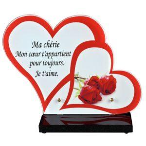 plaque funeraire coeurs rouges roses personnalisable