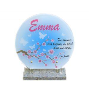plaque funeraire cerisier papillons rond personnalisee