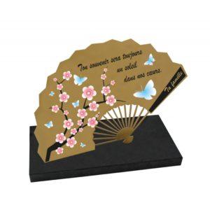plaques funeraires design originales eventail cerisier