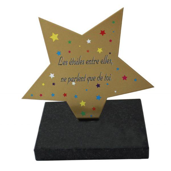 plaque funeraire etoile inox personnalisable