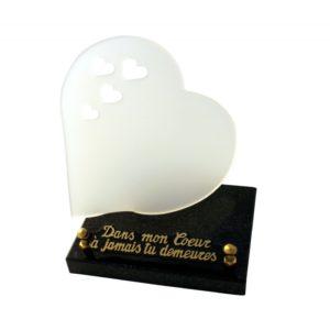 article funeraire coeur blanc personnalise