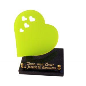 plaques funeraires coeur vert