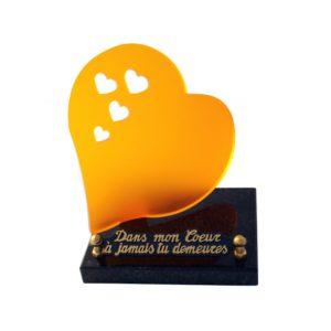 plaque funeraire coeur orange