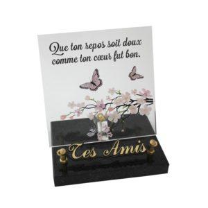 plaques funeraires papillons cerisiers personnalisables