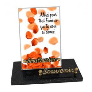 plaque funeraire design moderne petales roses personnalisable