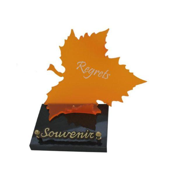 article funeraire personnalisable feuille orange