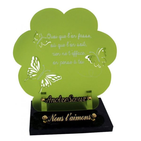 article funeraire moderne papillons vert