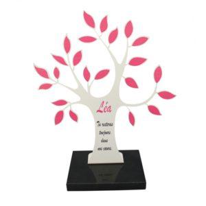plaque funéraire personnalisée arbre de vie feuilles roses