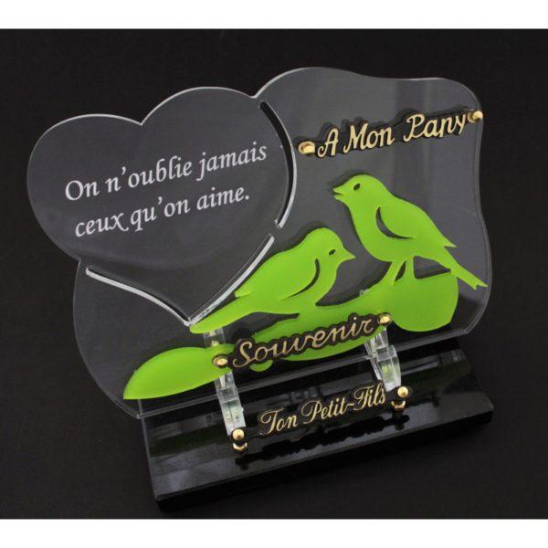 plaque funeraire plexiglas oiseaux verts