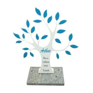 plaque funeraire arbre de vie blanc bleu