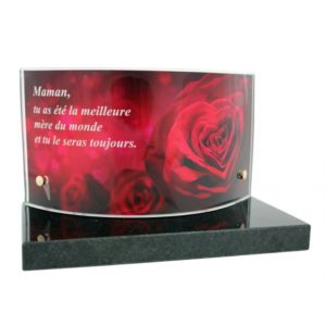 plaques funeraires photo roses personnalisees