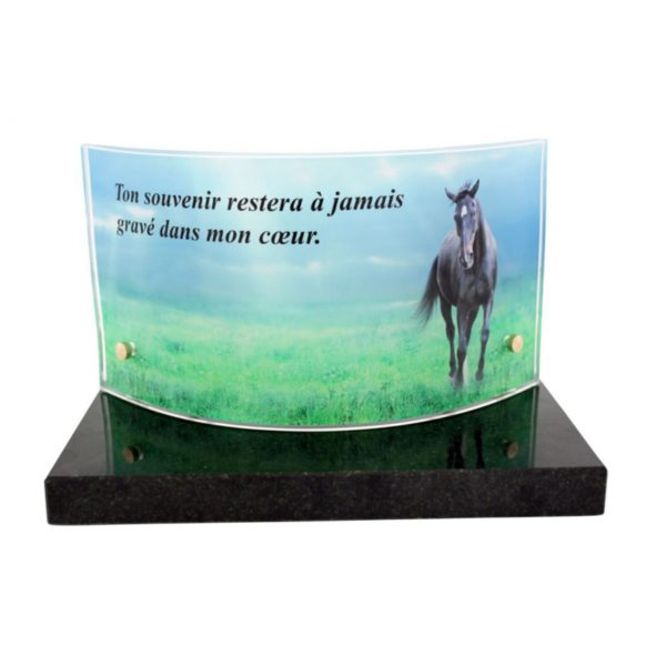 plaque funeraire panoramique cheval