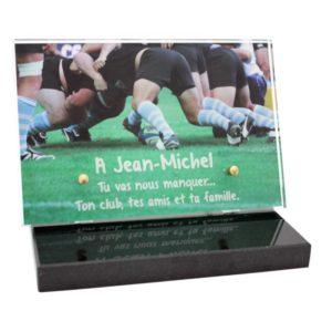 plaque funeraire moderne plexiglas rugby