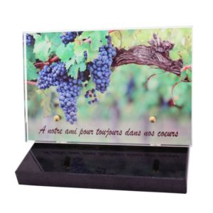 plaque funeraire originale vigneron raisin