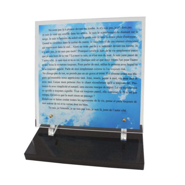 article funeraire plaque plexiglas moderne texte personnalise
