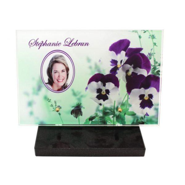plaques funeraires modernes fleurs personnalisees