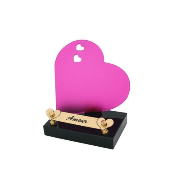 plaque funeraire coeur rose personnalisee