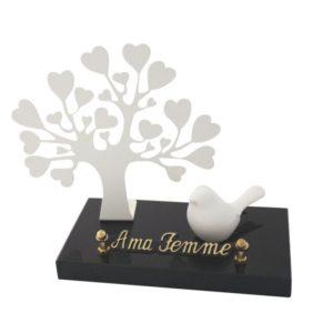 plaque funeraire enfant arbre coeur oiseau