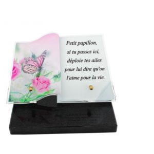 article funeraire personnalise papillon rose