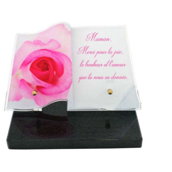 plaques funeraires rose personnalisees