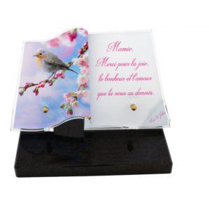 plaques funeraires personnalisees fleurs oiseau