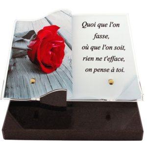 plaque funeraire originale livre rose personnalisee