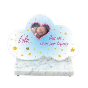 plaques funeraires enfant nuage personnalisees