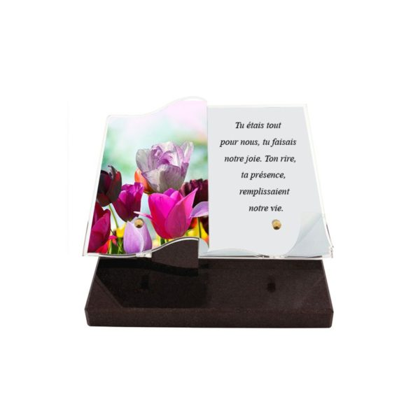 plaques funeraires livre photo fleurs