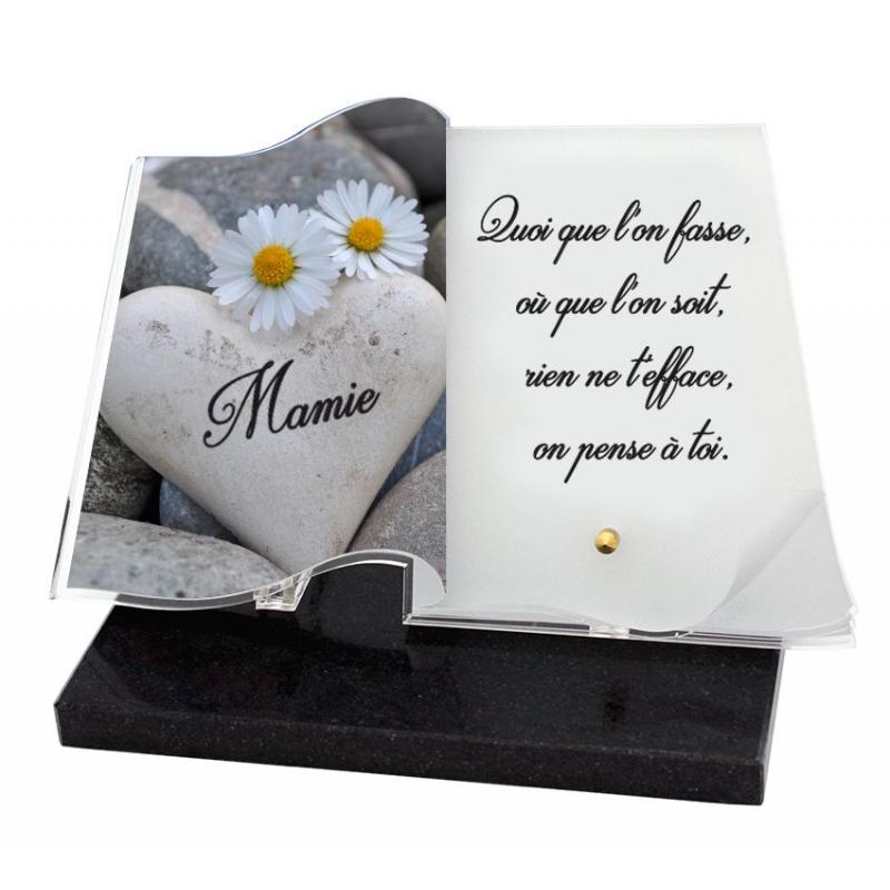 articles funeraires livre coeur fleurs