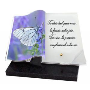 plaques funeraires livre papillon personnalises