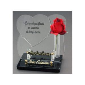 articles funeraires coeur rose