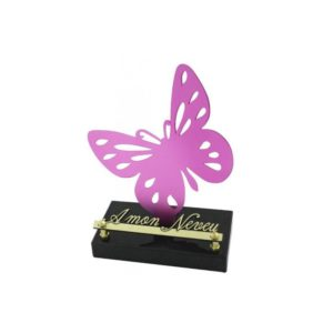 plaque funeraire moderne papillon rose
