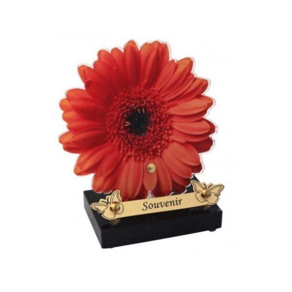 plaque funeraire moderne fleur rouge