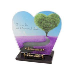 plaque funeraire personnalisee arbre coeur