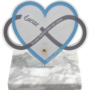 plaque funeraire moderne coeur bleu infini