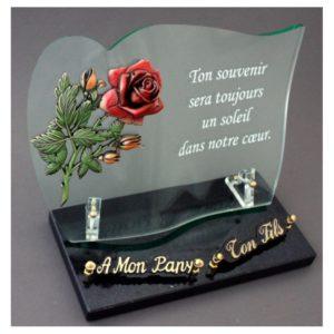 plaques funeraires verre rose bronze