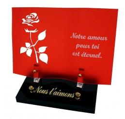 plaque funeraire livre rouge rose