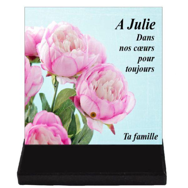 plaque funeraire fleurs moderne
