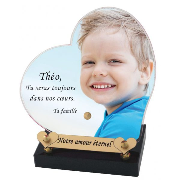 plaque funeraire coeur photo personnalisee
