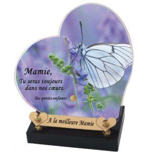 articles funeraires personnalisables coeur papillon