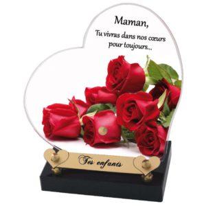 plaque funeraire coeur personnalisable