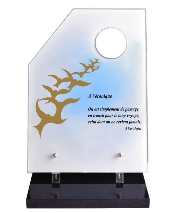 plaque funeraire moderne design oiseaux