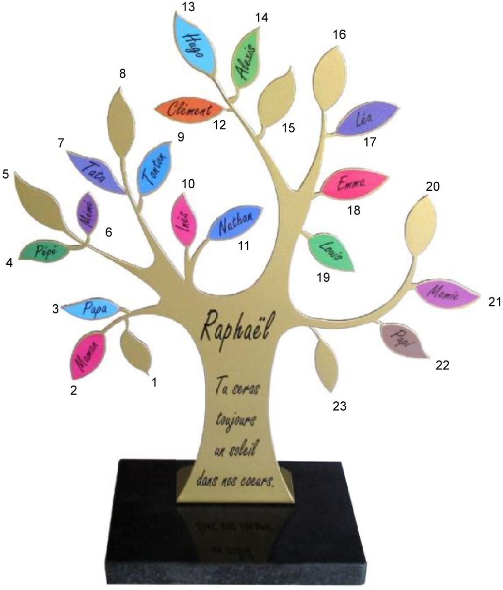 plaque funéraire design moderne arbre de vie