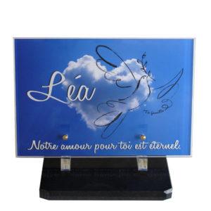 plaque funeraire enfant moderne coeur nuage personnalisable