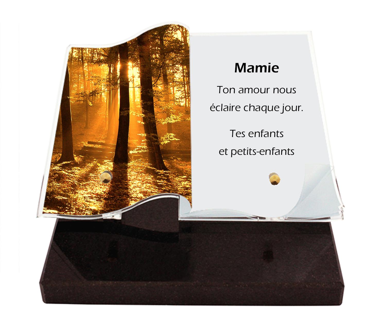plaque mortuaire personnalisée moderne design photo texte