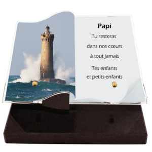 Plaque funéraire personnalisée phare mer