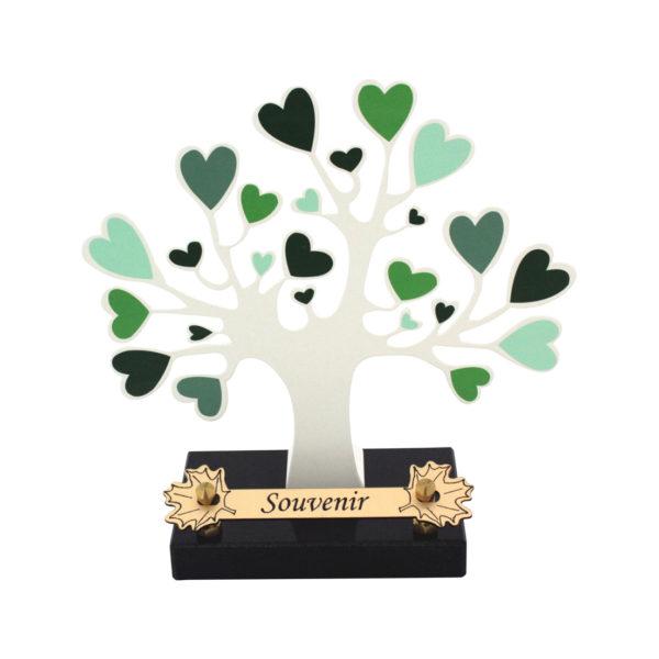 plaque funéraire arbre coeurs vert