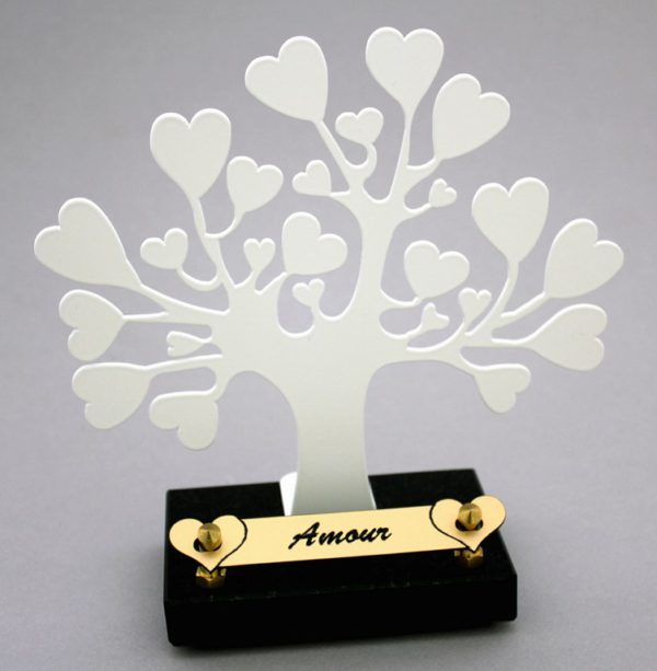 plaque funéraire arbre de vie coeurs
