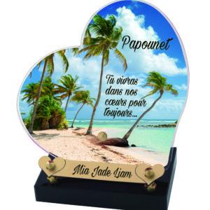 plaque funéraire plage palmiers