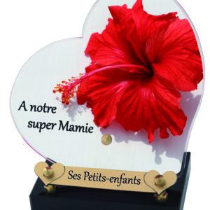 plaque funeraire mamie coeur hibiscus
